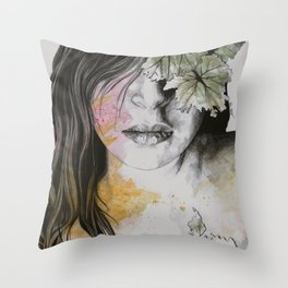 One Second II (autumn nude goddess erotic portrait) Throw Pillow