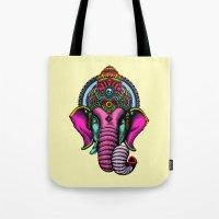 buddha Tote Bags featuring buddha by mark ashkenazi