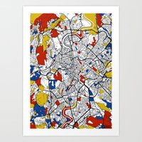rome Art Prints featuring Rome by Mondrian Maps
