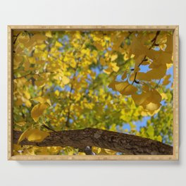 Golden Ginkgo Leaves Serving Tray