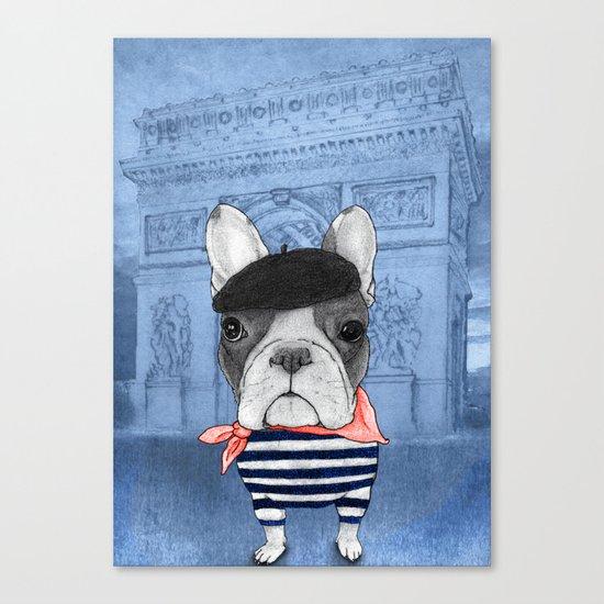 Frenchie with Arc de Triomphe Canvas Print