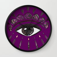 kenzo Wall Clocks featuring Kenzo eye in purple by cvrcak