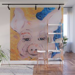 Blue Ribbon Pig Wall Mural
