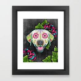 Labrador Retriever - Yellow Lab - Day of the Dead Sugar Skull Dog Framed Art Print