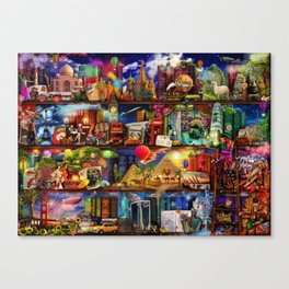 World Travel Book Shelf Canvas Print