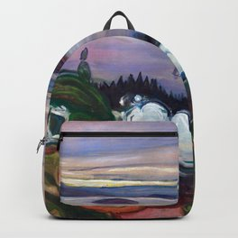 Train Smoke by Edvard Munch Backpack