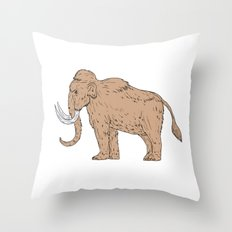 Woolly Mammoth Side Drawing Throw Pillow