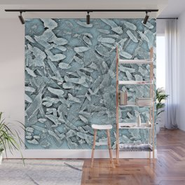 Ocean Tips Silver Blue Abstract Wall Mural