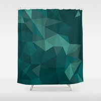 polygon Shower Curtains featuring Green Polygon by artsimo