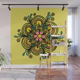 Flower Power Mandala Positive Vibes Flow Freely Wall Mural