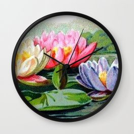 Vintage Lily Pad Floral Pond Lilies Wall Clock