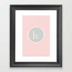 Garland Initial W - Grey Framed Art Print
