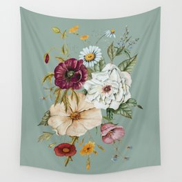 Colorful Wildflower Bouquet on Blue Wall Tapestry