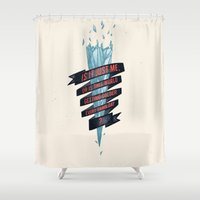 gore Shower Curtains featuring warming hoax by Kingu Omega