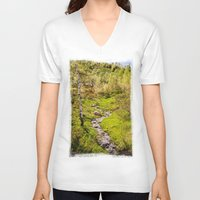 river V-neck T-shirts featuring River by Julie Luke