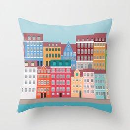 Denmark, Nyhavn, Copenhagen Travel Poster Throw Pillow