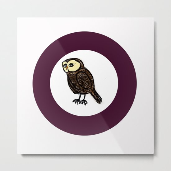 Owl in Purple Circle  Metal Print