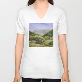 Pastures and Mount Mansfield Oil Landscape Vermont Painting Unisex V-Neck