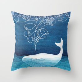 Happy whale, animals sea creature, teal blue watercolor Throw Pillow