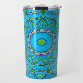 Lovely Healing Mandalas in Brilliant Colors: Blue, Green, Yellow, and Pink Travel Mug