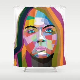 Cara Delevingne - wpap art Shower Curtain