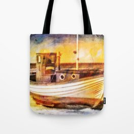 Boat Sunset Beach Painting Tote Bag