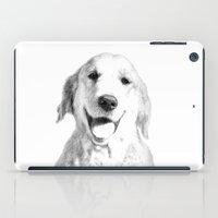 golden retriever iPad Cases featuring Amber // Golden Retriever by Dog of Art