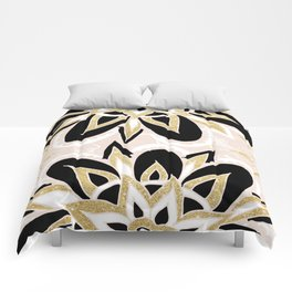 Modern black gold pink abstract floral pattern Comforters