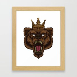 Roaring Bear With Crown | Wilderness Forest Tough Framed Art Print