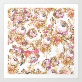 Shabby vintage rose pink brown bohemian floral Art Print