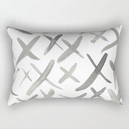 Watercolor X's - Grey Gray Rectangular Pillow