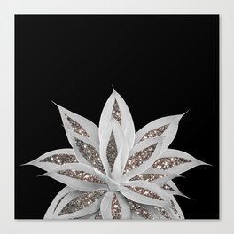 Gray Agave with Silver Glitter #1 #shiny #tropical #decor #art #society6 Canvas Print