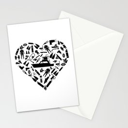I Love Scuba Diving | Divers Heart Sea Snorkeling Stationery Cards