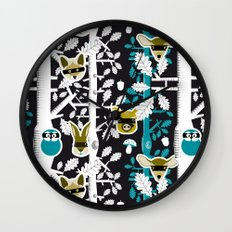Animals play hide&seek in forest (color2) Wall Clock