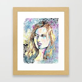 Modern Style Portrait of Woman With brown Hair  Framed Art Print
