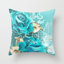 Lacy Background with Turquoise Roses Throw Pillow