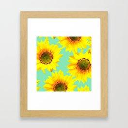 Sunflowers on a pastel green backgrond - #Society6 #buyart Framed Art Print