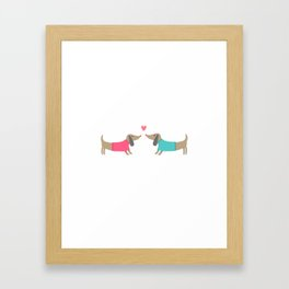 Cute dog lovers in love with heart Framed Art Print