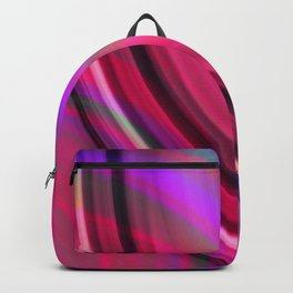 Cross curved ovals with a crisp strawberry accent and all the colors of the rainbow.  Backpack