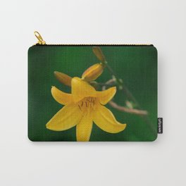 Blossoming Golden Yellow Lily on Green Background Carry-All Pouch