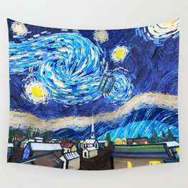 Tardis Art Starry City Night Wall Tapestry