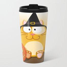 Halloween cat from month series October Metal Travel Mug
