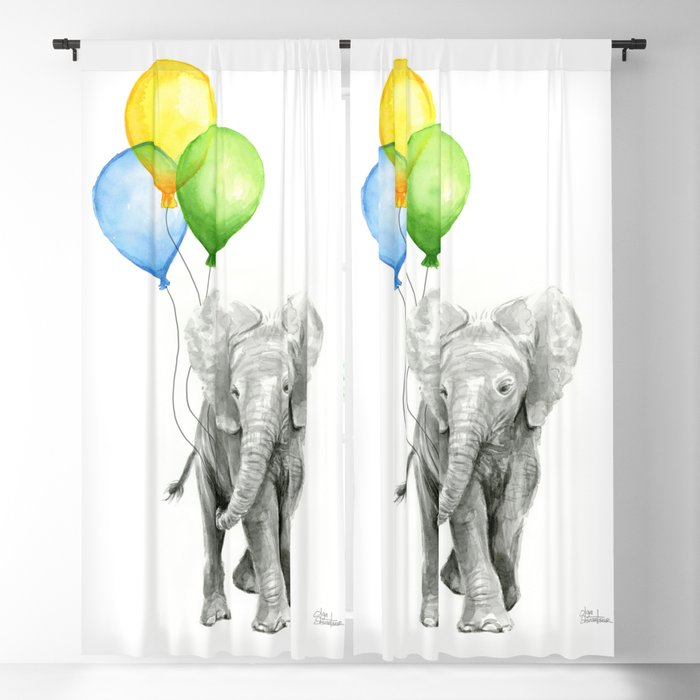 Elephant with Three Balloons Blackout Curtain