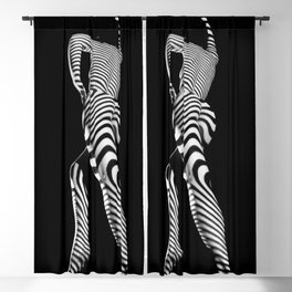 0492s-MM BW Striped Nude Art Model Megan Rear View Standing Blackout Curtain