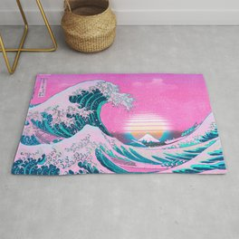 Vaporwave Aesthetic Great Wave Off Kanagawa Sunset Rug