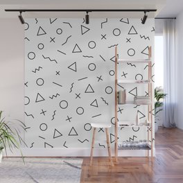 Memphis Geometry ((black on white)) Wall Mural
