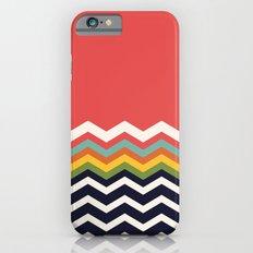 Retro Chevrons (navy and salmon) iPhone 6s Slim Case