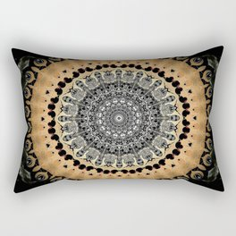 Black Marble with Gold Brushed Mandala Rectangular Pillow