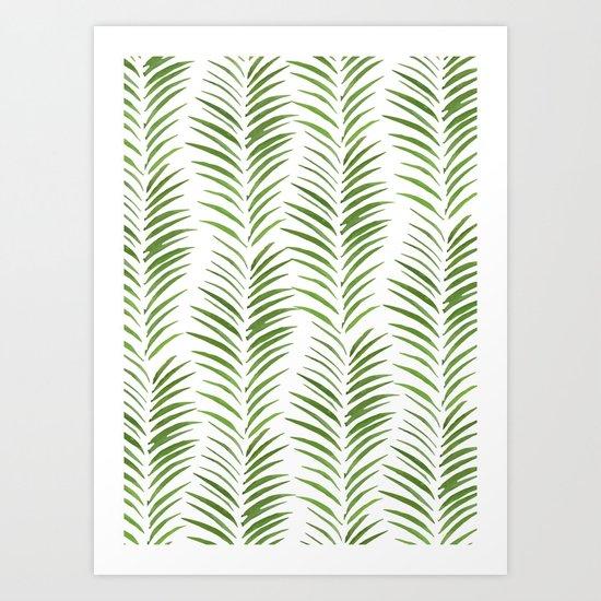Herringbone Green Nature Pattern Art Print