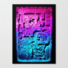 Aztec city  in cyan Colors Canvas Print